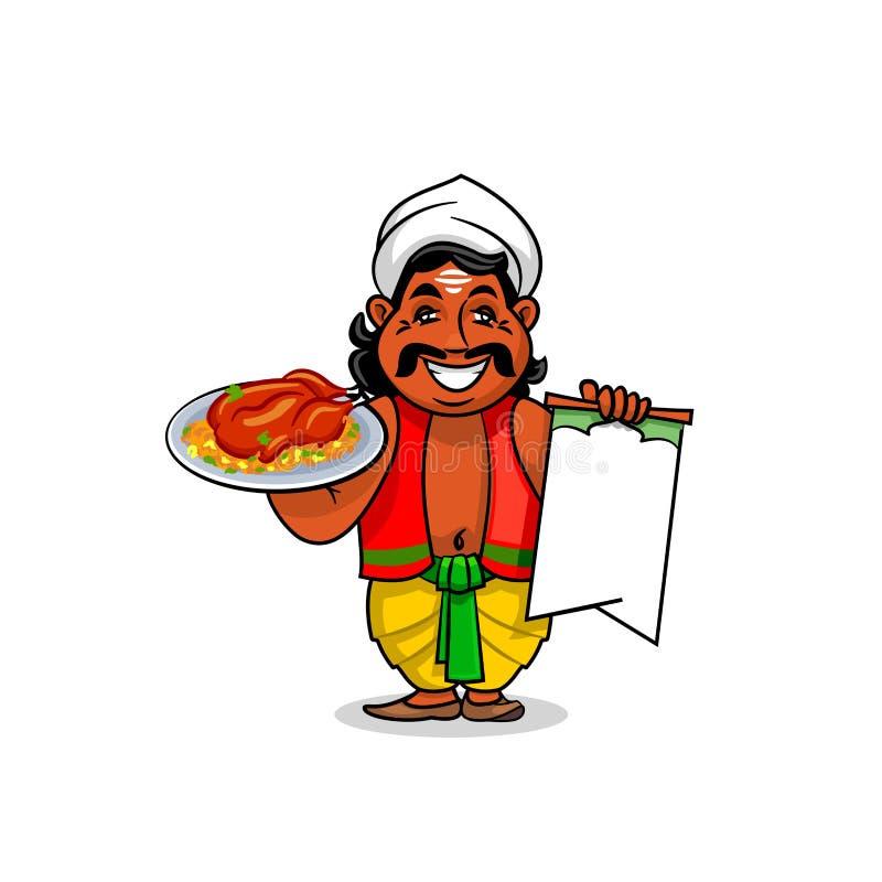 Cuisinier indien avec du riz de cari de menu et de poulet illustration libre de droits