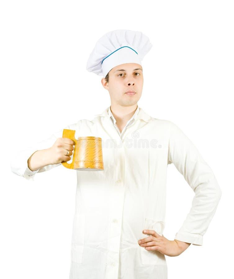 Cuisinier m le avec la tasse de bi re photo stock image for Cuisinier 2010