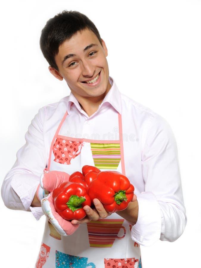 Cuisinier mâle heureux   photos libres de droits