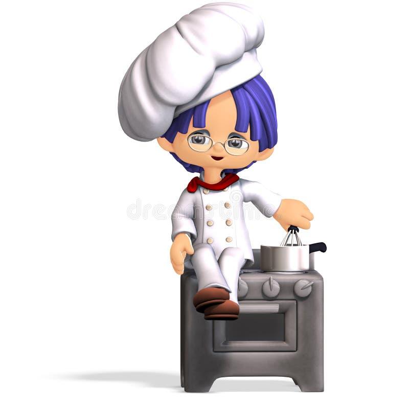 Cuisinier mignon et drôle de dessin animé image libre de droits