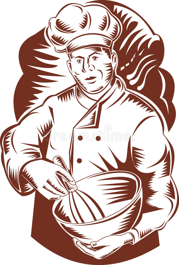 Cuisinier ou boulanger de chef avec la cuvette illustration libre de droits