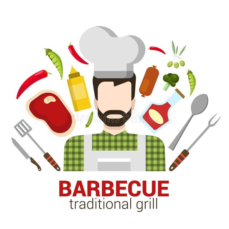 Cuisinier professionnel de vecteur plat : icône de gril de barbecue de restaurant illustration de vecteur