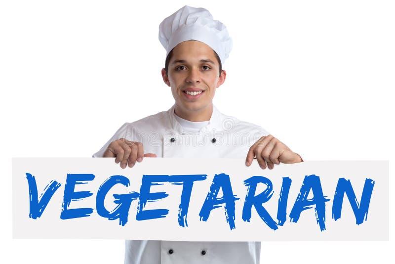 Cuisinier végétarien de nourriture faisant cuire les légumes sains de consommation d'isolement images stock