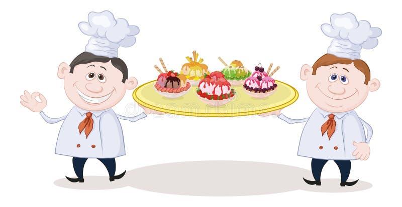 Cuisiniers avec la crème glacée  illustration stock