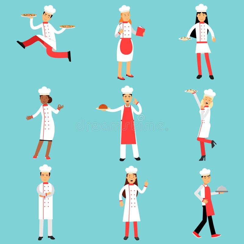 Cuisiniers et boulangers de chef à l'ensemble de travail Illustrations professionnelles de personnel de cuisine illustration stock