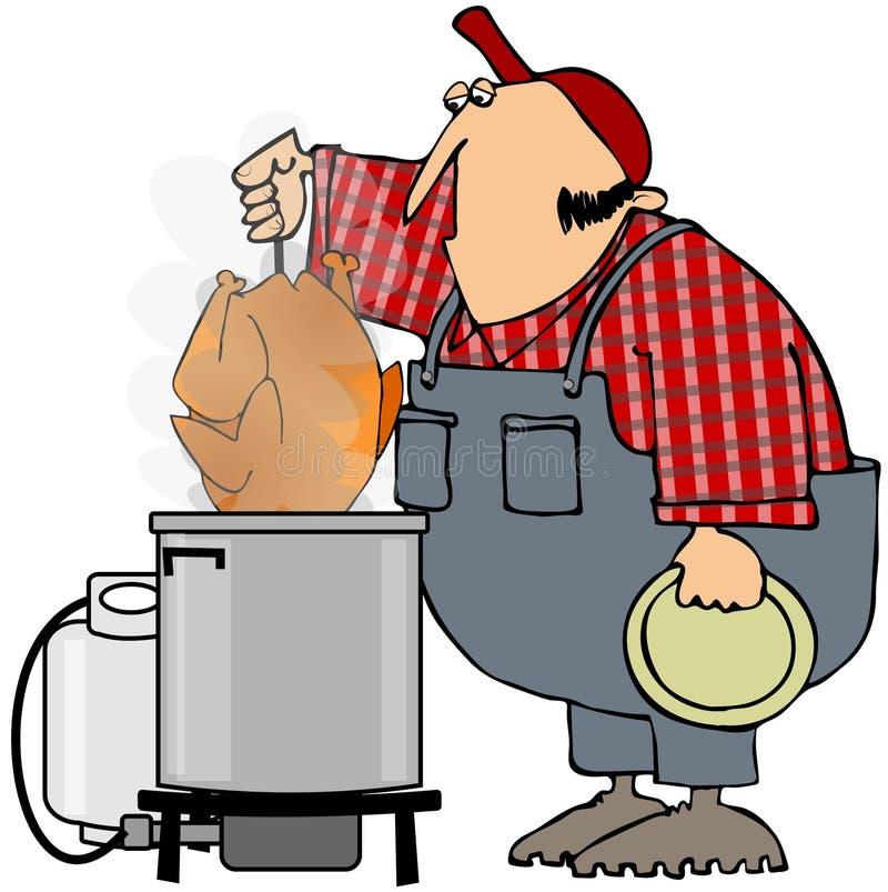 Cuisson à la friteuse de la Turquie illustration stock
