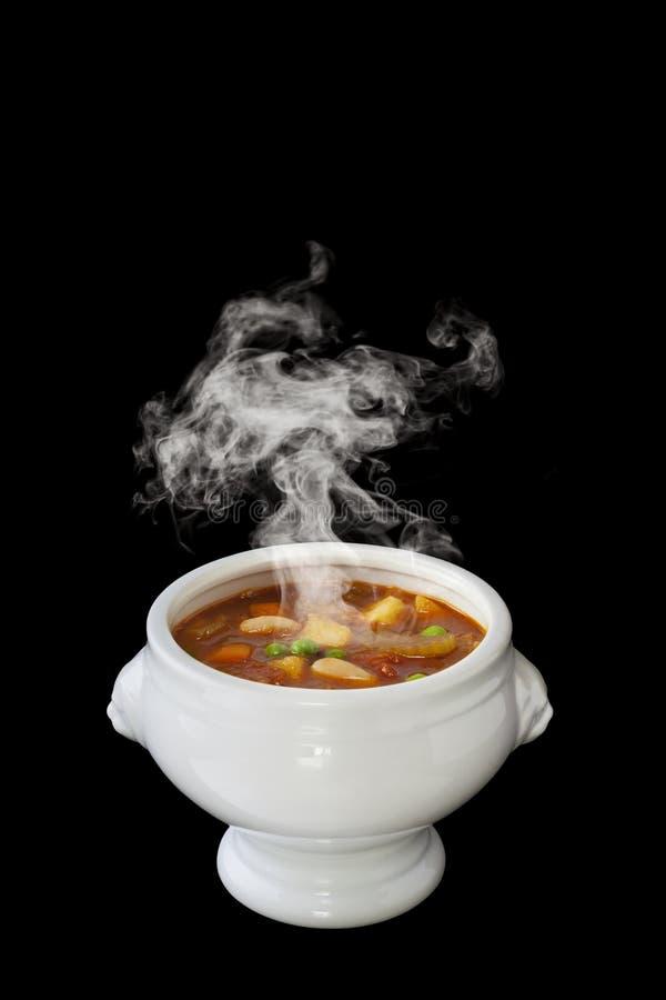 Cuisson à la vapeur de potage aux légumes image stock