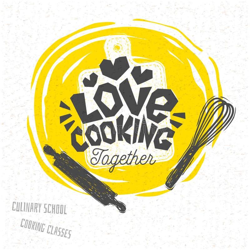 Cuisson de l'école, classes culinaires, studio, logo, ustensiles, tablier, fourchette, couteau, chef principal illustration de vecteur