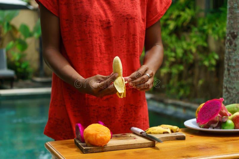 Cuisson de la classe culinaire Banan enlevé photo stock