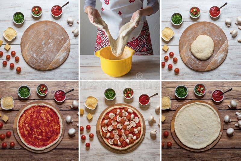 Cuisson de la pizza italienne avec le collage de nourriture de champignons photo libre de droits