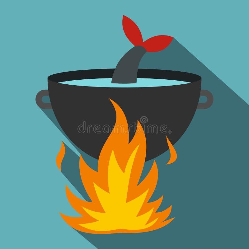 Cuisson de la soupe à poissons sur une icône du feu, style plat illustration de vecteur