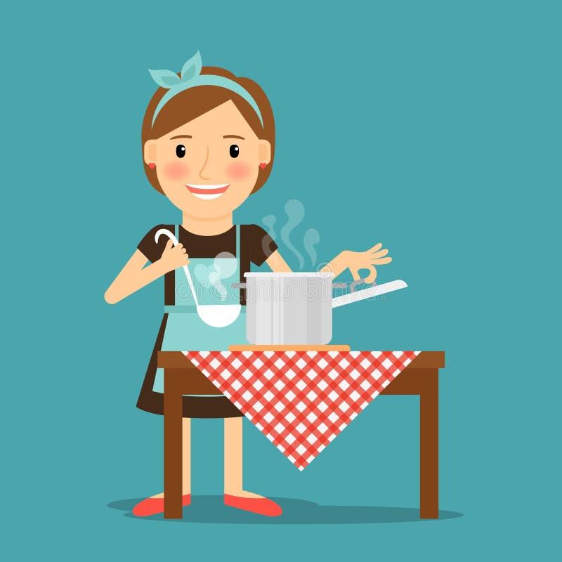 Cuisson de mère Femme faisant cuire dans la cuisine illustration stock