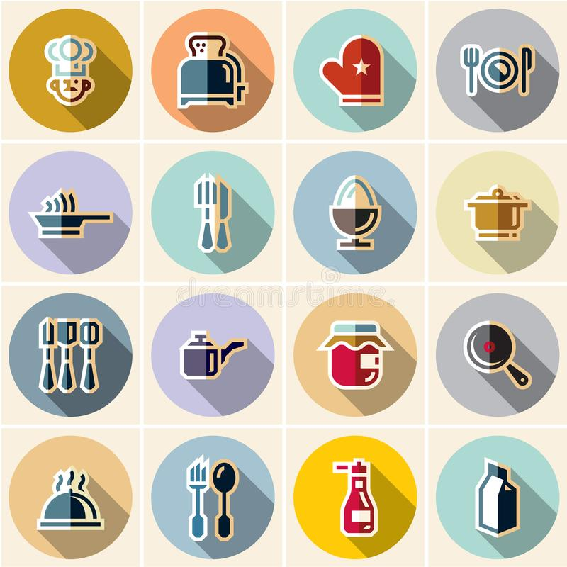Cuisson des icônes cuisine assiettes Icônes plates illustration stock