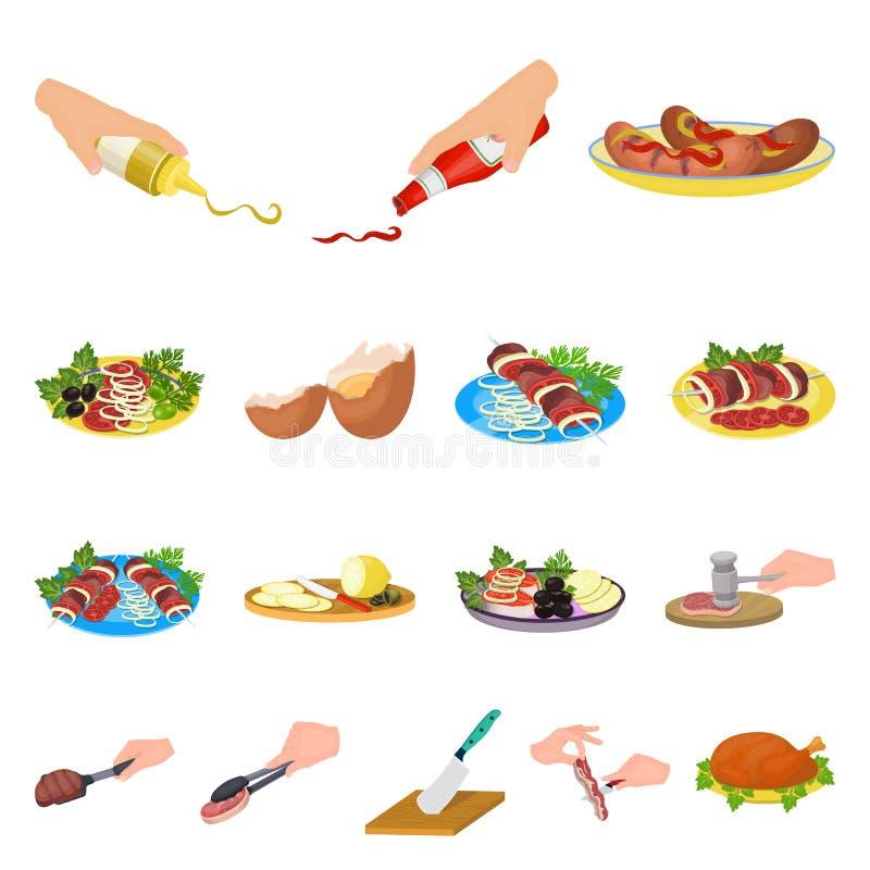 Cuisson des icônes de bande dessinée de nourriture dans la collection d'ensemble pour la conception La cuisine, l'équipement et l illustration stock
