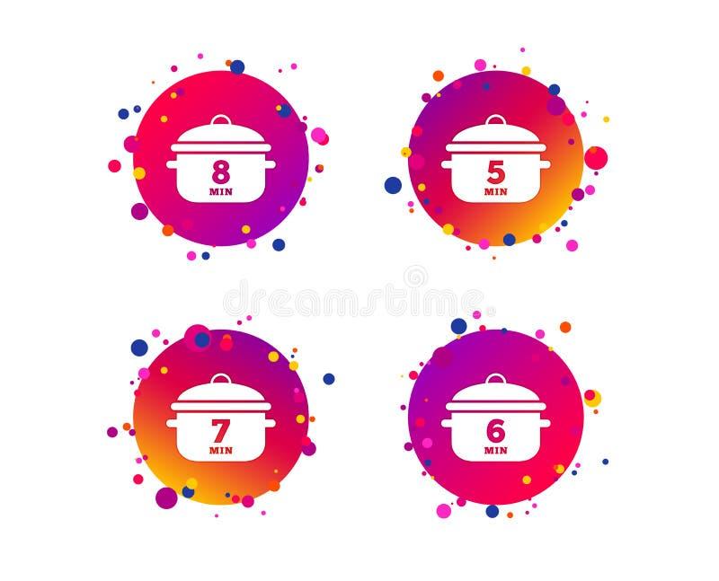 Cuisson des icônes de casserole Ébullition cinq, huit minutes Vecteur illustration libre de droits