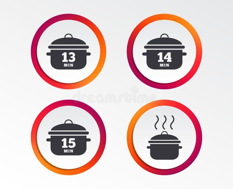Cuisson des icônes de casserole Ébullition quinze minutes illustration stock