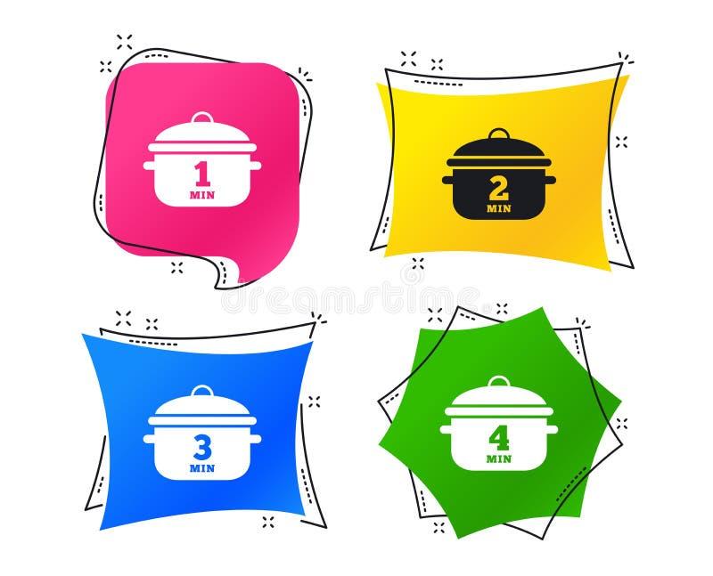 Cuisson des icônes de casserole Ébullition une, quatre minutes Vecteur illustration libre de droits