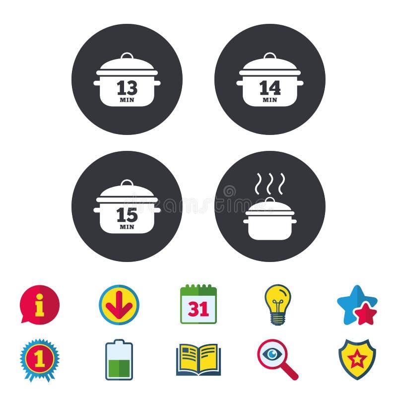 Cuisson des icônes de casserole Ébullition quinze minutes illustration libre de droits