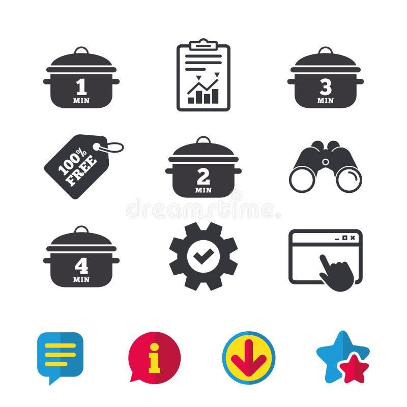 Cuisson des icônes de casserole Ébullition une, quatre minutes illustration libre de droits