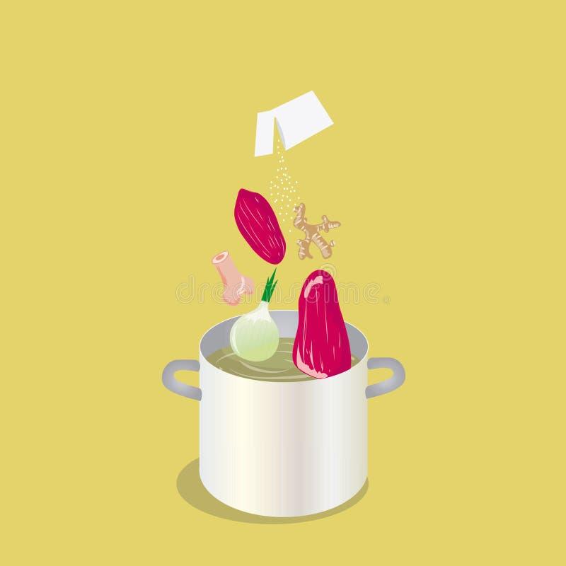 Cuisson des légumes de pot et de l'illustration plate de viande photo stock