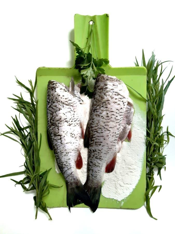 Cuisson des poissons, carcasses du poisson cru photo stock