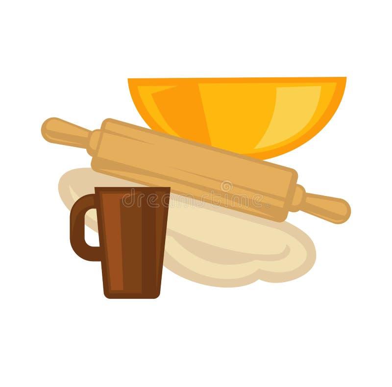 Cuisson des ustensiles de cuisson de vecteur de vaisselle de cuisine illustration stock