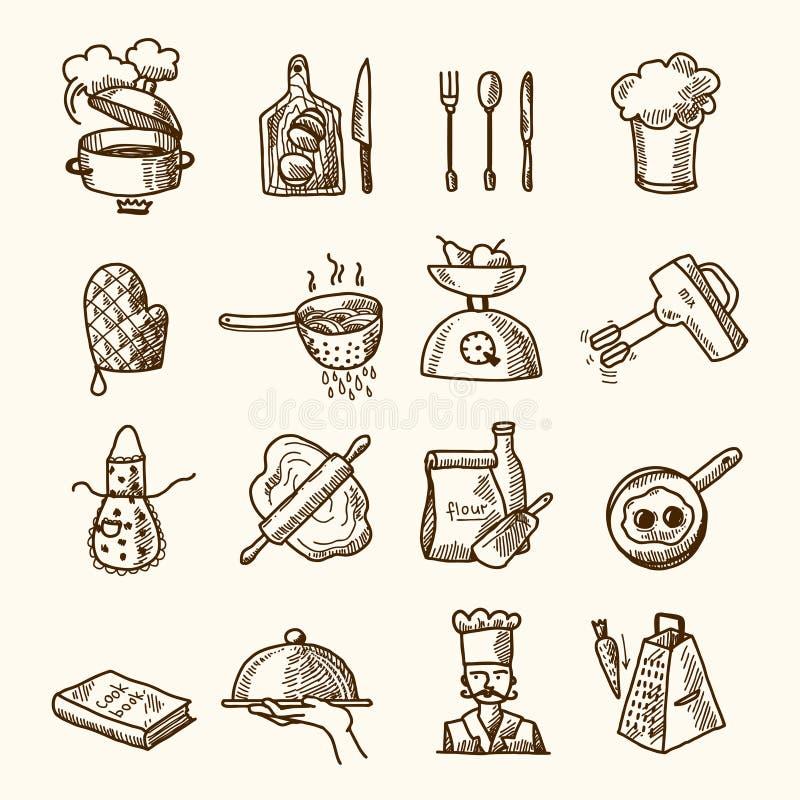 Cuisson du croquis d'icônes illustration libre de droits