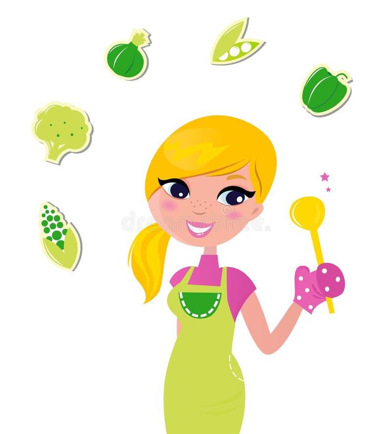 Cuisson du femme préparant la nourriture verte saine illustration stock