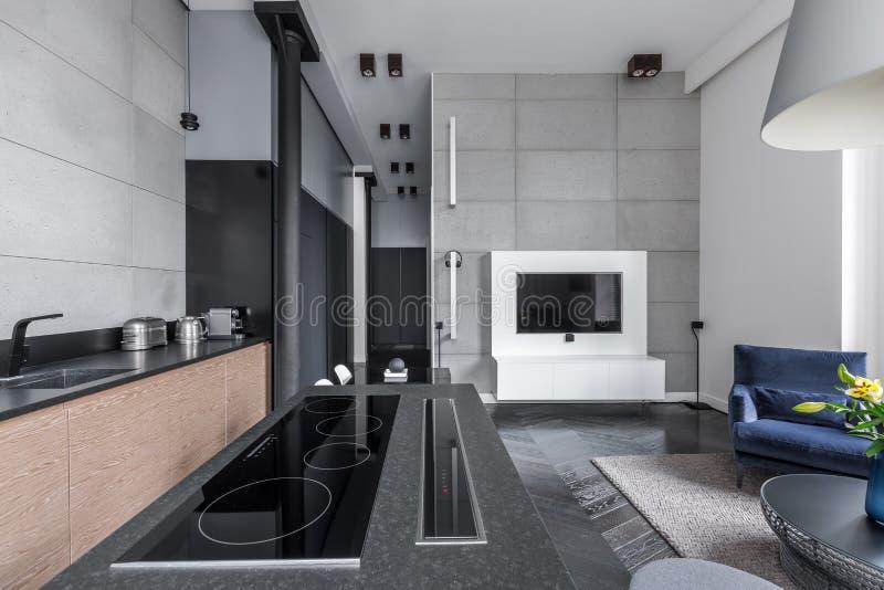 Cuisson du secteur en appartement multifonctionnel photo stock