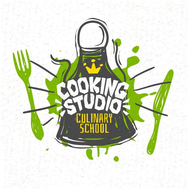 Cuisson du studio, école culinaire, classes, logo, ustensiles, tablier, fourchette, couteau, couronne illustration libre de droits
