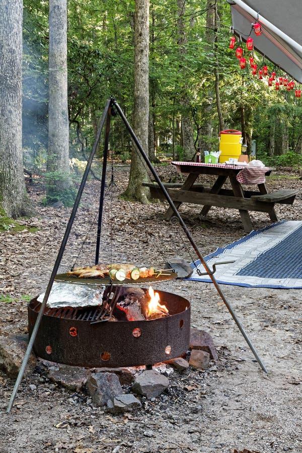 Cuisson sur un feu de camp photo stock