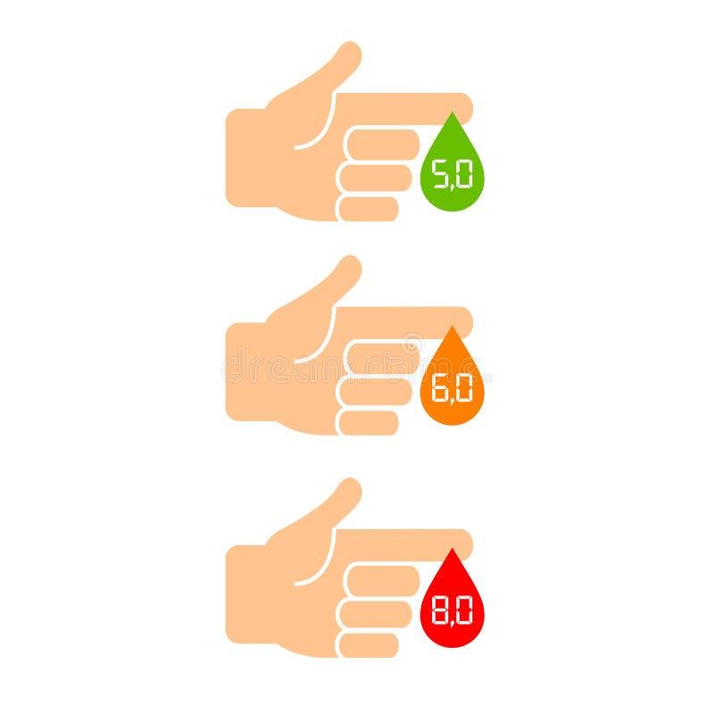 Cukier równy w krwionośnej ikonie ilustracja wektor
