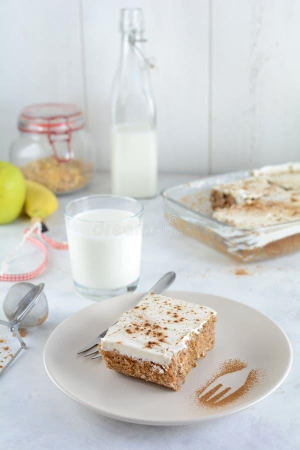 Cukier Uwalnia Zero M?drze punkt?w Domowej roboty Zdrowych tort?w Z owies skorupy i grka jogurtu polew? fotografia royalty free