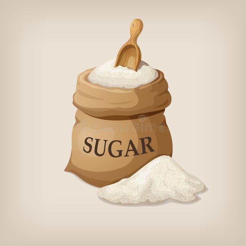 Cukier z miarką w burlap worku ilustracji