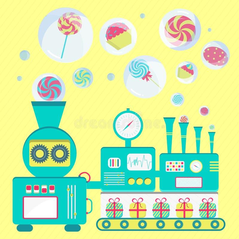 Download Cukierek fabryka ilustracja wektor. Ilustracja złożonej z przemysł - 53777287