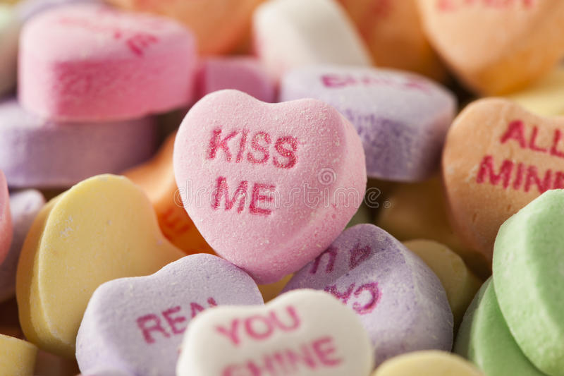 Cukierek rozmowy serca dla walentynka dnia zdjęcie royalty free