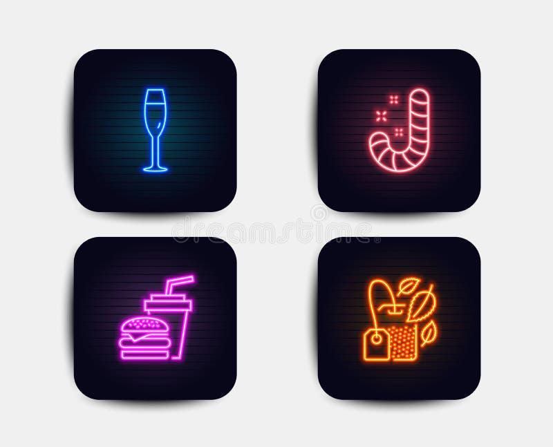 Cukierek, Szampański szkło i hamburger ikony, Nowy torba znak Lollypop, wytwórnia win, hamburger z napojem Mentha herbata wektor ilustracja wektor