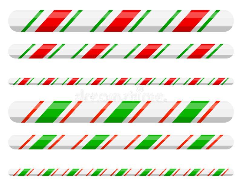 Cukierek trzciny kreskowej granicy divider dla boże narodzenie projekta dalej ilustracja wektor