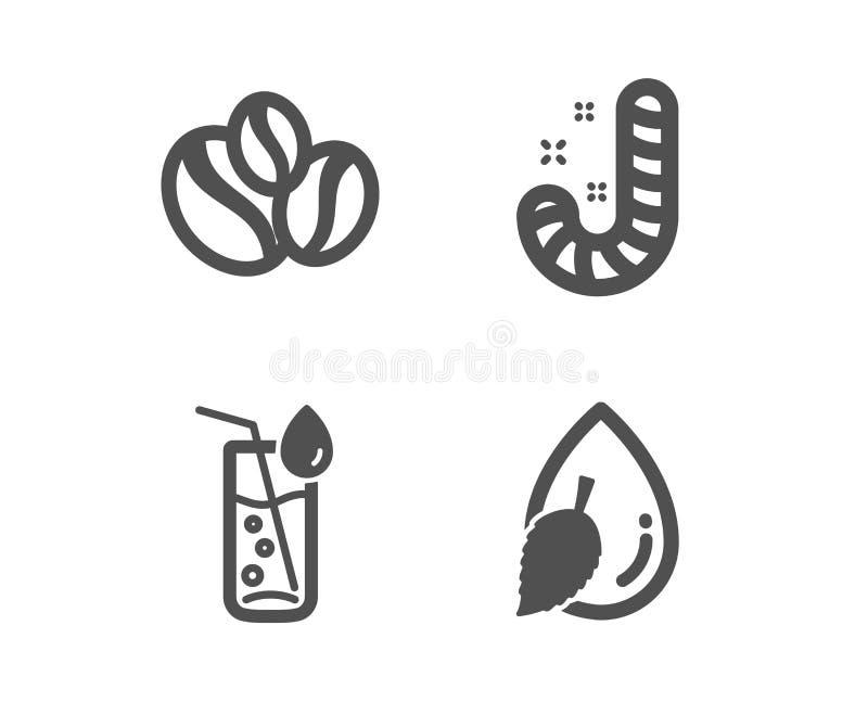 Cukierek, Wodny szkło i jagod fasoli ikony, Wodny kropla znak Lollypop, Sodowany napój, Kawowe fasole wektor ilustracja wektor