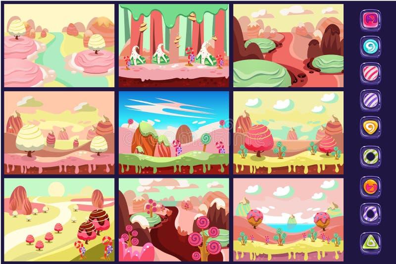 Cukierek ziemia, kolekcja bajka krajobrazy, szczegóły dla komputer gry interfejsu wektoru ilustracj royalty ilustracja