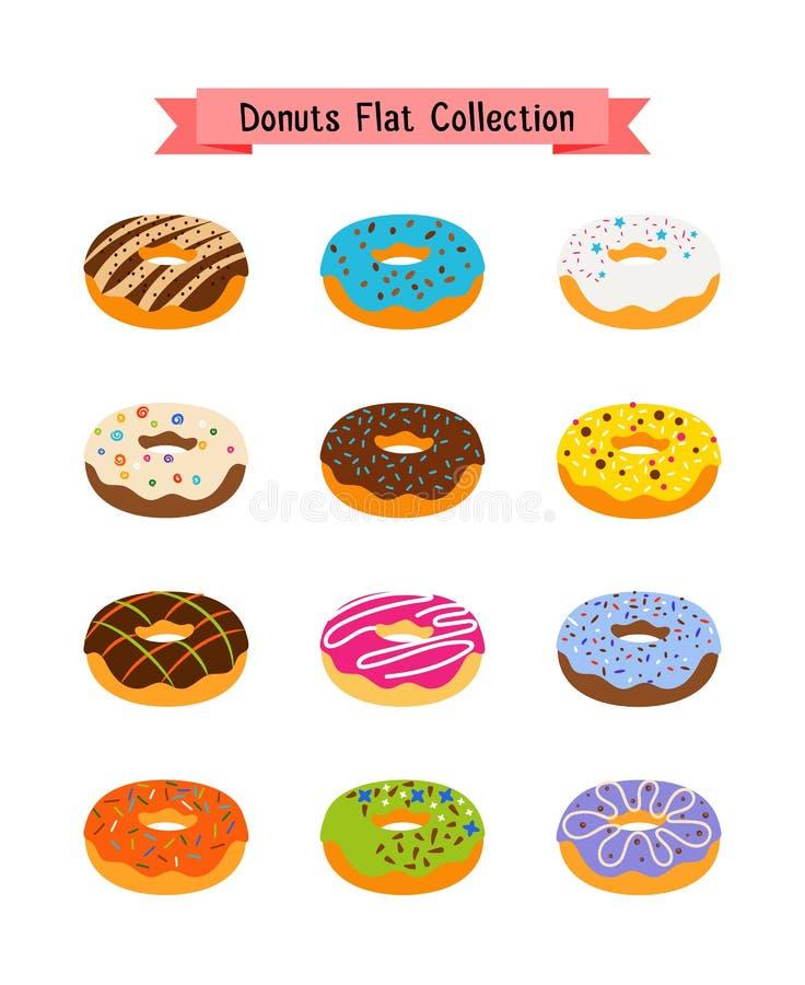 Cukierków donuts mieszkania ikony Ciasto cukier glazurował pączek ustawiającego z dziura wektoru ilustracją royalty ilustracja