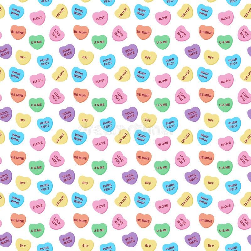 Cukierków serc Bezszwowy wzór ilustracja wektor