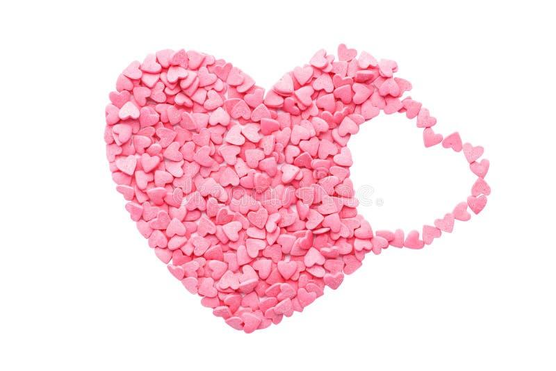 Cukierków serca odizolowywający na bielu Walentynki ` s dnia pojęcie obraz royalty free