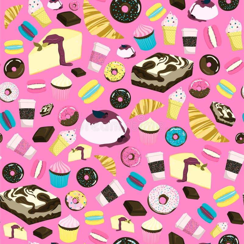 Cukierki bezszwowy wzór z cheesecake, punktem, babeczką, czekoladą, pączkiem, lody, croissant, etc ilustracji