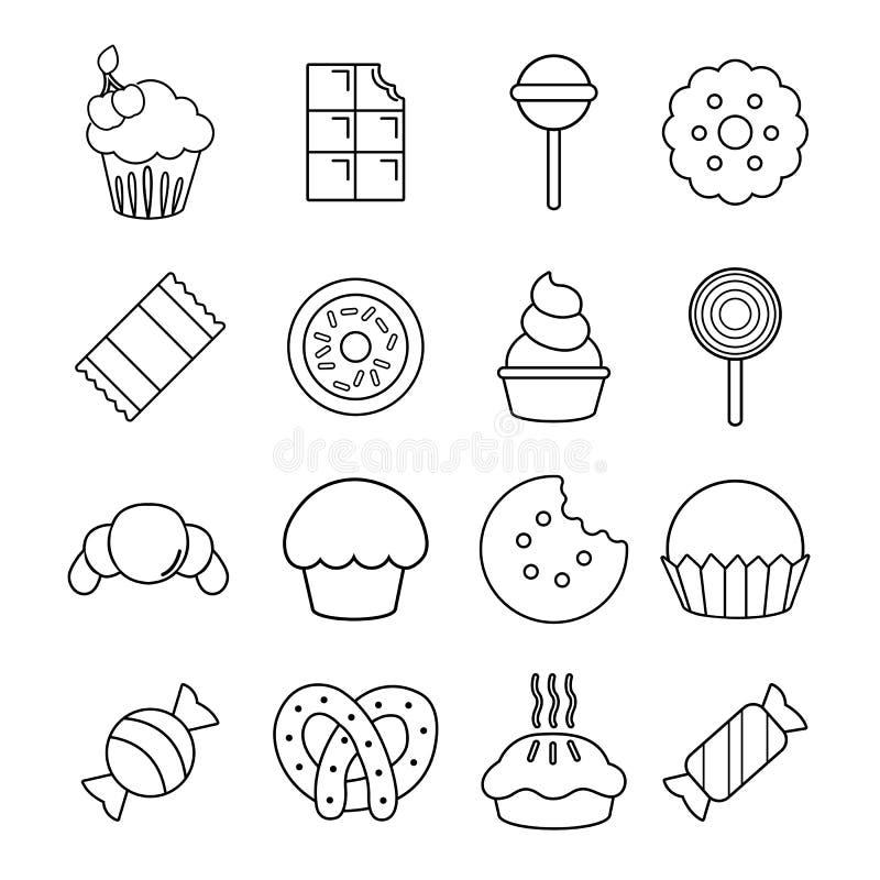 Cukierki cukierek zasycha ikony ustawiać, konturu styl royalty ilustracja