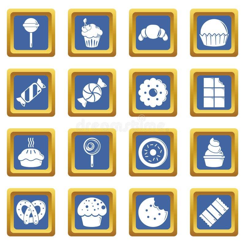 Cukierki cukierek zasycha ikony ustawiają błękita kwadrat ilustracja wektor