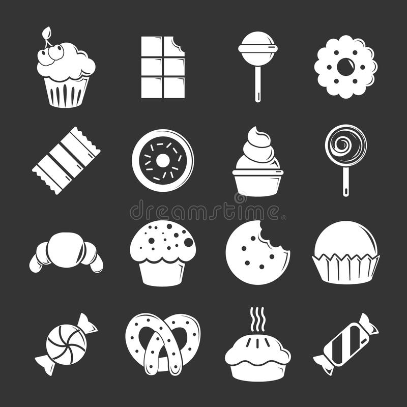 Cukierki cukierku tortów ikony ustawiać siwieją wektor ilustracji