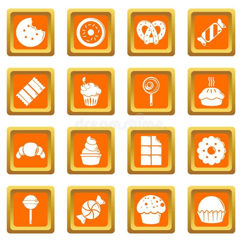 Cukierki cukierku tortów ikony ustawiają pomarańcze kwadratowego wektor ilustracji