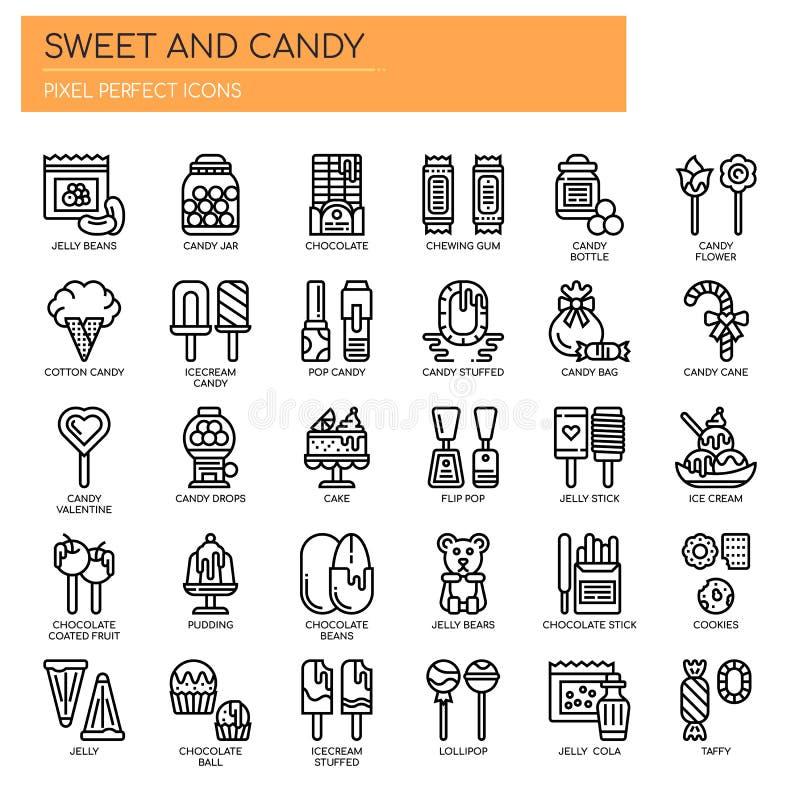 Cukierki i cukierek, piksel Perfect ikony royalty ilustracja