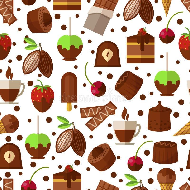 Cukierki i cukierki, czekoladowy lody bezszwowy ilustracji